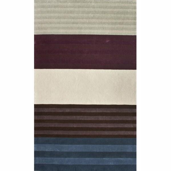 nuLOOM Handmade Stripes Multi Faux Silk / Wool Rug