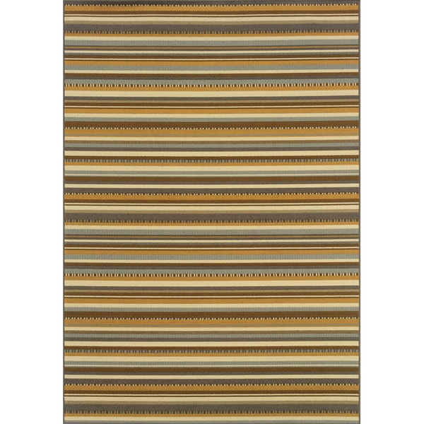 Outdoor/Indoor Grey/Gold Striped Area Rug