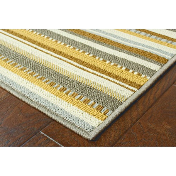 StyleHaven Stripes Grey/Gold Indoor-Outdoor Area Rug