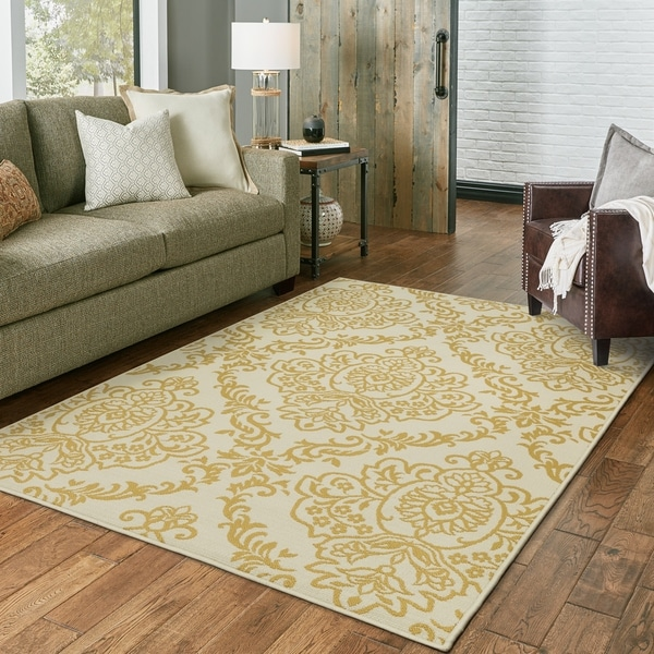 Silver Orchid Bletcher Floral Damask Indoor/ Outdoor Area Rug. Opens flyout.
