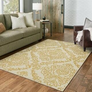 Outdoor/ Indoor Ivory/ Gold Area Rug