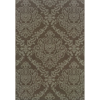 Outdoor/ Indoor Grey/ Blue Floral Area Rug