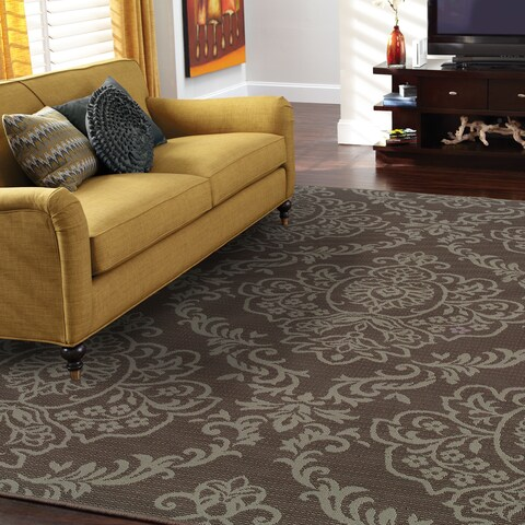 Silver Orchid Bletcher Floral Grey/Blue Indoor-Outdoor Area Rug
