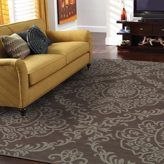 StyleHaven Floral Grey/Blue Indoor-Outdoor Area Rug