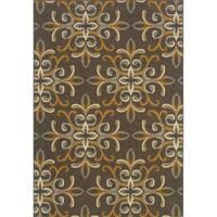 StyleHaven Floral Grey/Gold Indoor-Outdoor Area Rug