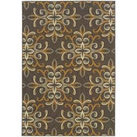 StyleHaven Floral Grey/Gold Indoor-Outdoor Area Rug
