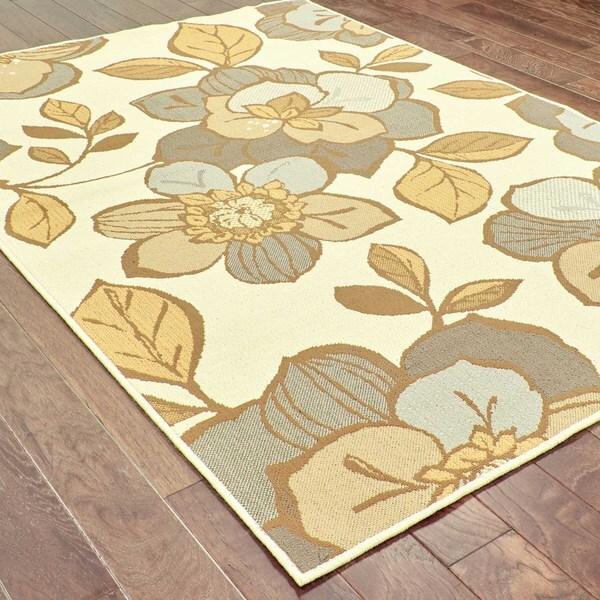 StyleHaven Floral Ivory/Grey Indoor-Outdoor Area Rug