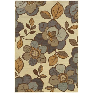 StyleHaven Floral Ivory/Grey Indoor-Outdoor Area Rug (More options available)