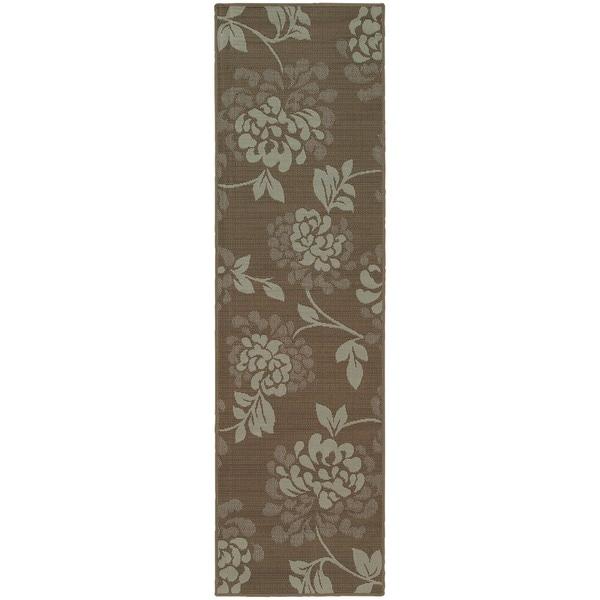 StyleHaven Floral Grey/Blue Indoor-Outdoor Area Rug