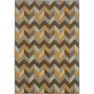 StyleHaven Chevron Grey/Gold Indoor-Outdoor Area Rug