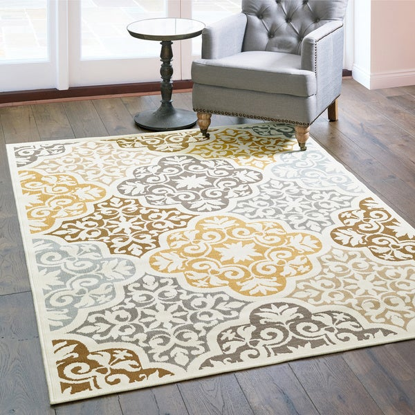 Carson Carrington Boden Floral Ivory/ Grey Indoor/ Outdoor Area Rug