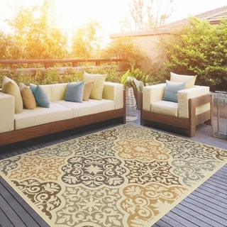 StyleHaven Floral Ivory/Grey Indoor-Outdoor Area Rug - Thumbnail 0