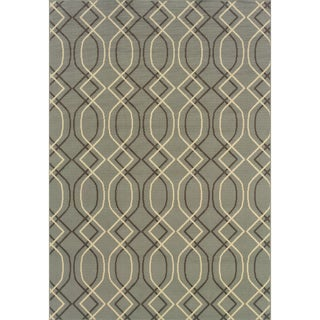 StyleHaven Lattice Blue/Grey Indoor-Outdoor Area Rug