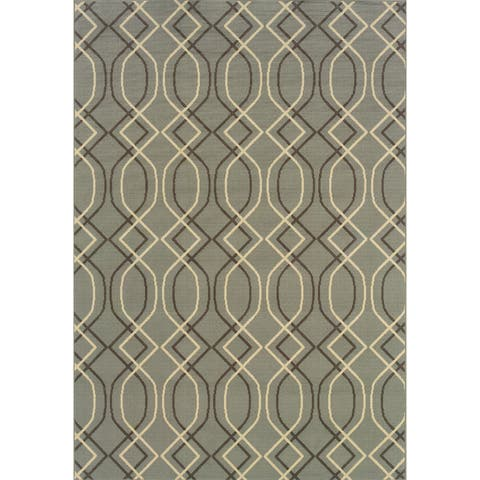 StyleHaven Lattice Blue/Grey Indoor-Outdoor Area Rug