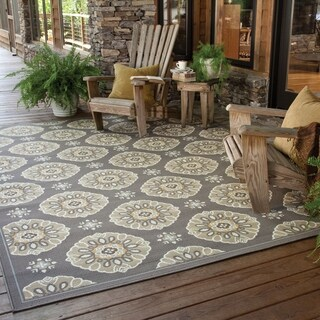 StyleHaven Floral Grey/Gold Indoor-Outdoor Area Rug (3 options available)