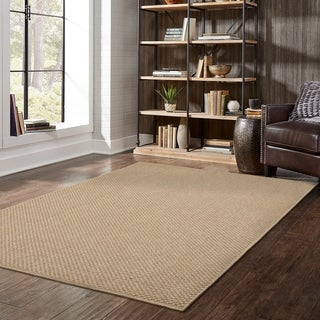 StyleHaven Woven Solid Sand Indoor-Outdoor Area Rug