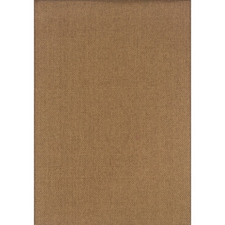 Outdoor/ Indoor Solid Tan Area Rug