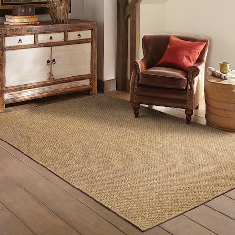StyleHaven Woven Solid Tan Indoor-Outdoor Area Rug