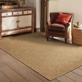 Outdoor/ Indoor Solid Tan Area Rug