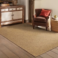 StyleHaven Woven Solid Tan Indoor-Outdoor Area Rug