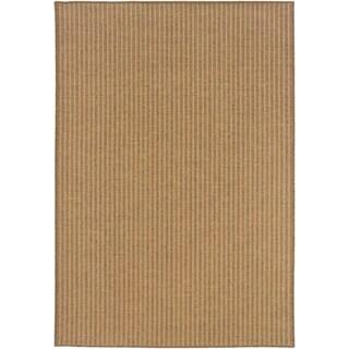 Veranda Woven Verticle Stripes Indoor/Outdoor Tan Area Rug
