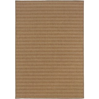 StyleHaven Stripes Tan/Sand Indoor-Outdoor Area Rug