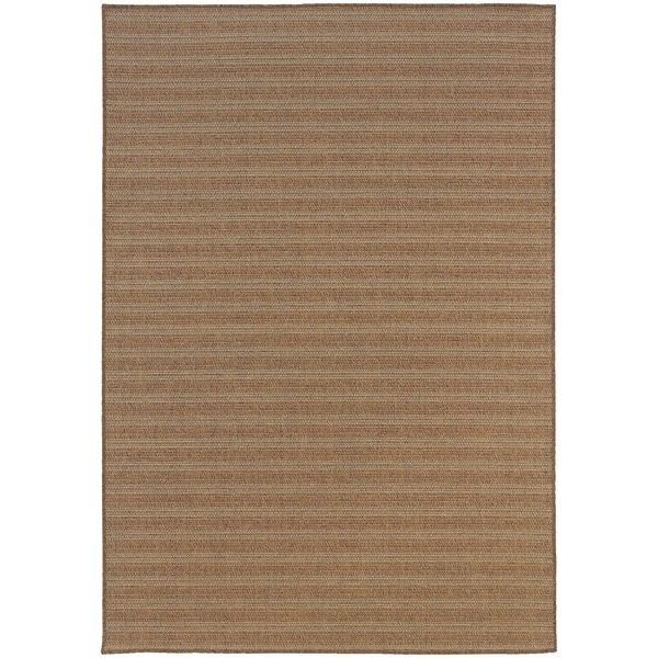 StyleHaven Stripes Tan/Sand Indoor-Outdoor Area Rug