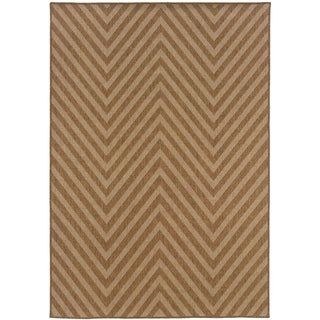 Outdoor/ Indoor Light Tan Zig-zag Area Rug