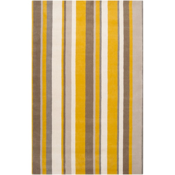 Hand-crafted Casual Yellow/Grey Stripe Granbury Wool Rug