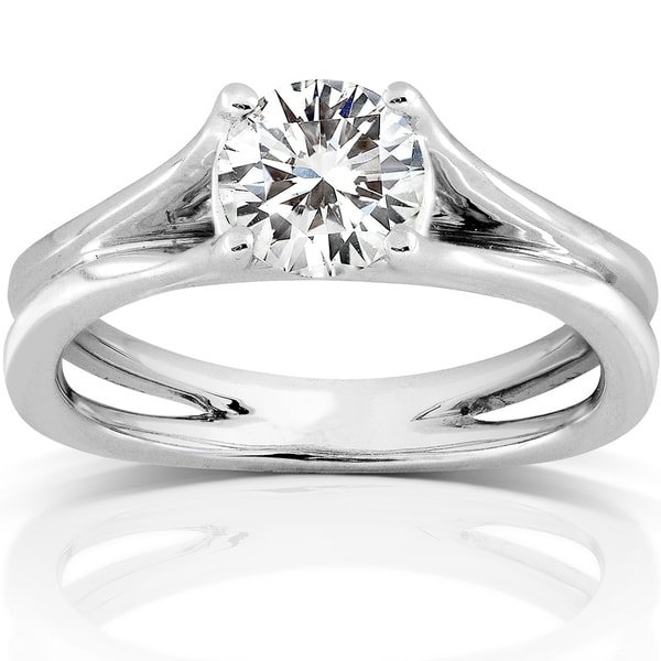 Annello by Kobelli 14k White Gold 1ct DEW Moissanite (HI) Solitaire Engagement Ring