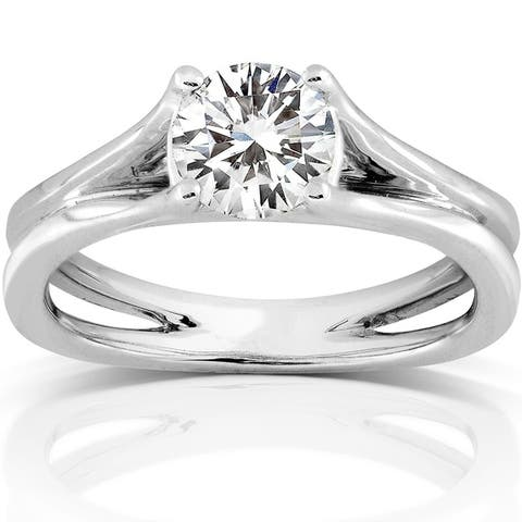 Annello by Kobelli 14k White Gold 1ct DEW Moissanite Solitaire Engagement Ring