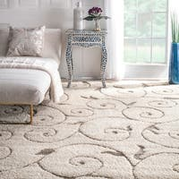 nuLOOM Cream Machine-made Vine Swirls Shag Area Rug - 8' x 10'