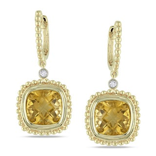 Miadora 14k Yellow Gold Citrine and Diamond Accent Earrings