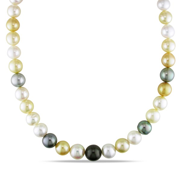 Miadora Signature Collection 14k Gold South Sea and Tahitian Pearl Necklace (10-12.5 mm)