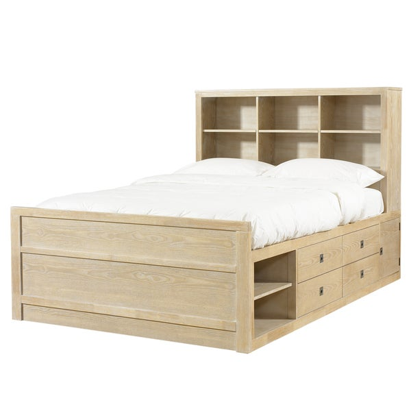 Powell Cassidy Washed Teak Full Size Storage Bed Free