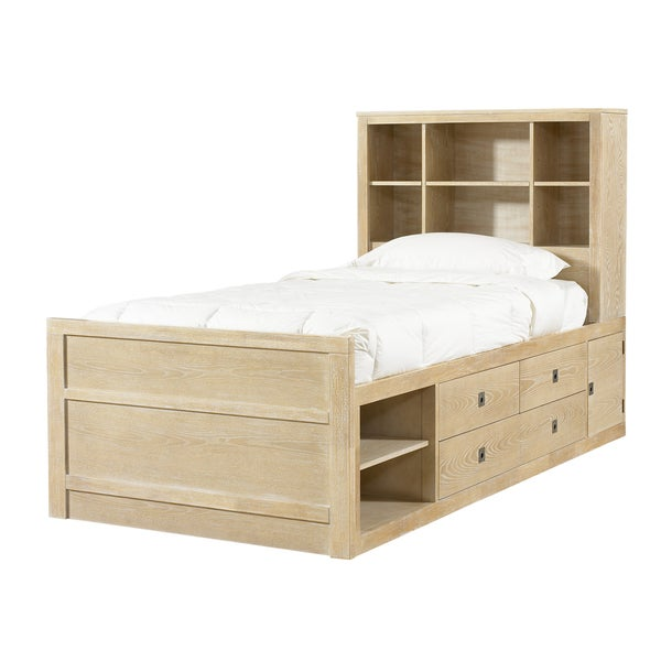 Powell Cassidy Washed Teak Twin Size Storage Bed Free