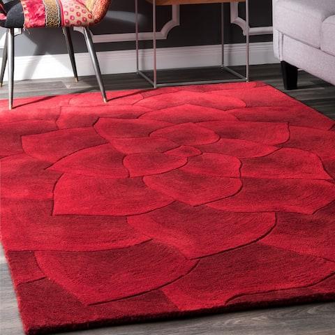 nuLOOM Handmade Bold Abstract Floral Wool Area Rug