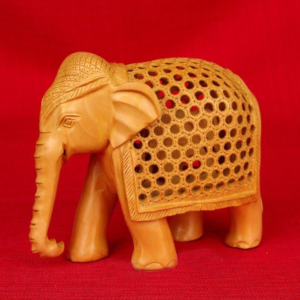 Hand-carved Kadam Wood Jali Elephant Figurine (India)