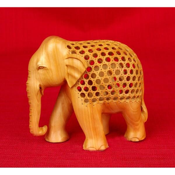 Handcarved Kadam Wood Jali Elephant Figurine (India)