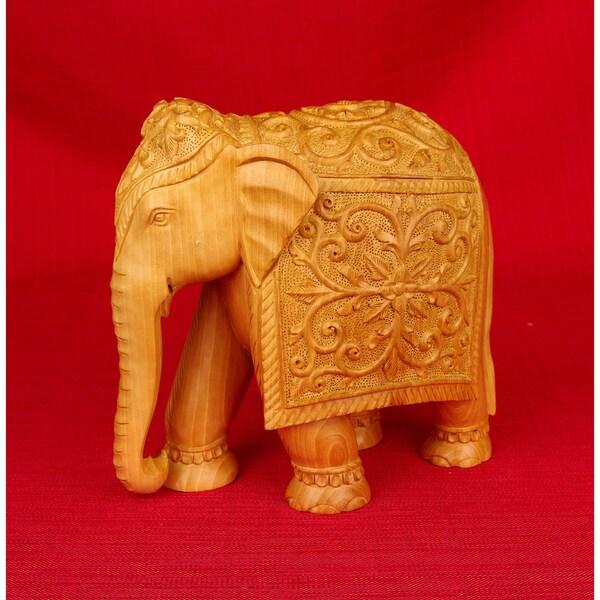 Handcarved Kadam Wood Elephant Figurine (India)