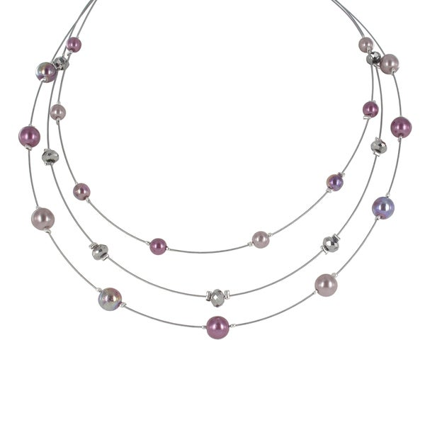 Roman Silvertone Purple and Grey Faux Pearl 3-row Necklace