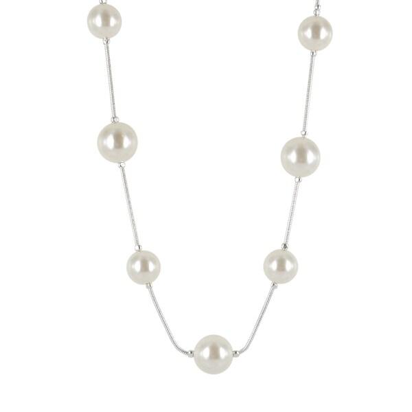 Roman Silvertone Cream Faux Pearl 36-inch Necklace
