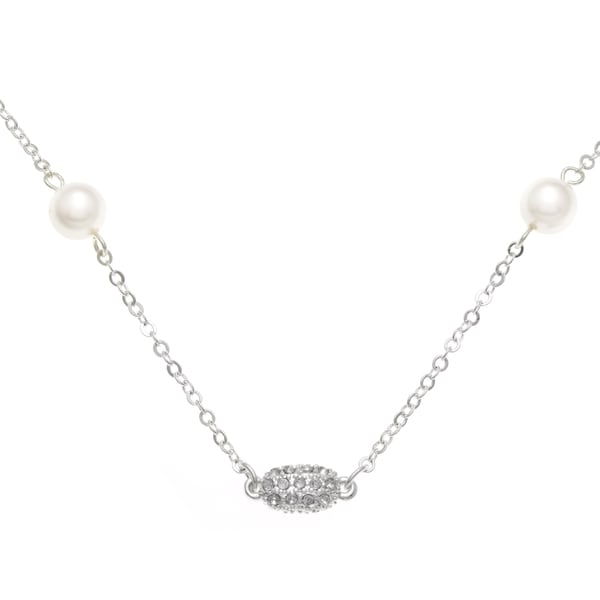 Roman Silvertone Cream Faux Pearl and Pave Crystal Station Necklace