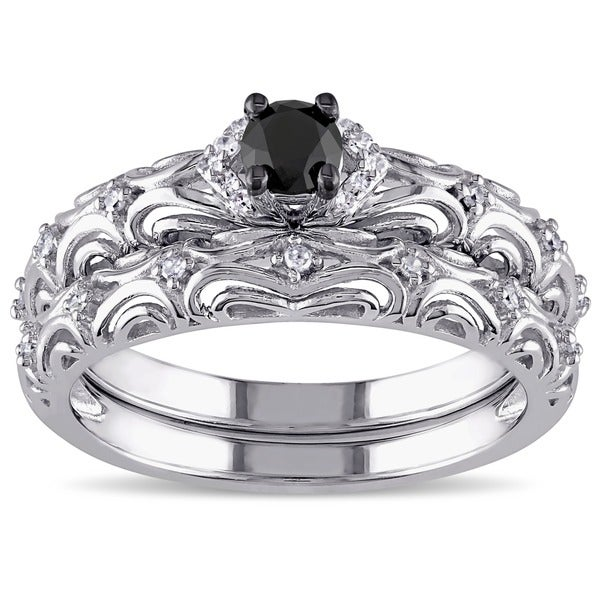 Miadora Sterling Silver 1/3ct TDW Diamond Filigree Vintage Bridal Ring Set