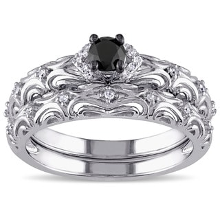 Miadora Sterling Silver 1/3ct TDW Diamond Filigree Vintage Bridal Ring Set (G-H, I2-I3)