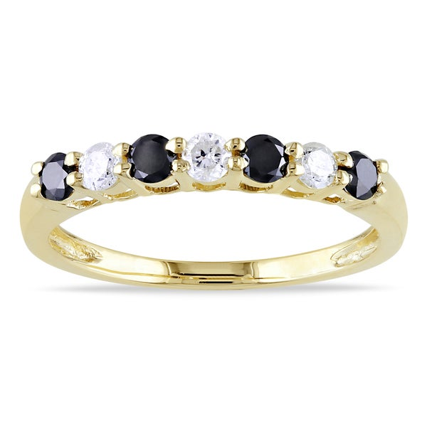 New!Miadora 10k Gold 1/2ct TDW Black and White Diamond Ring