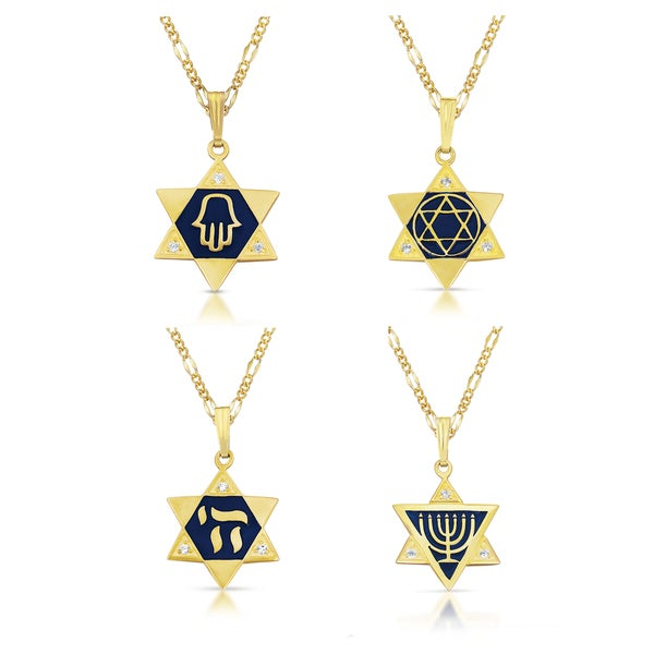 Gold Vermeil Cubic Zirconia 'Star of David' and Enameled 'Chai' Necklace