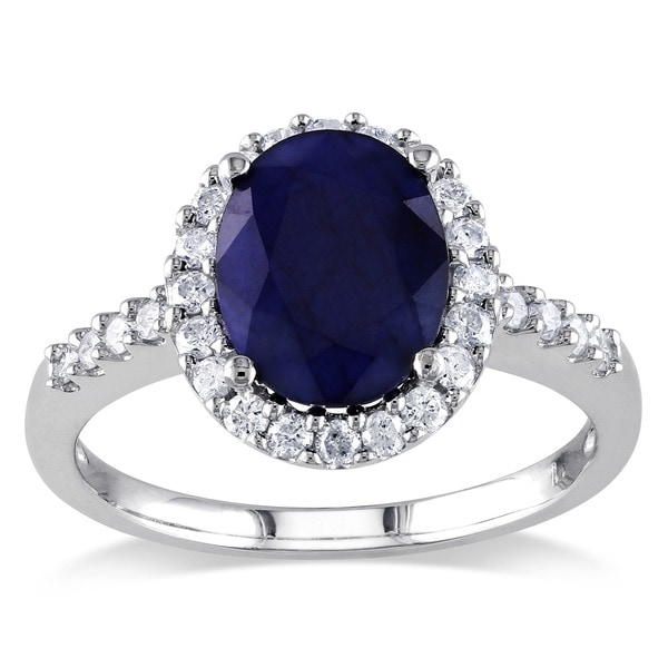 Miadora Signature Collection 14k White Gold Oval Diffused Sapphire and 2/5ct TDW Diamond Halo Ring