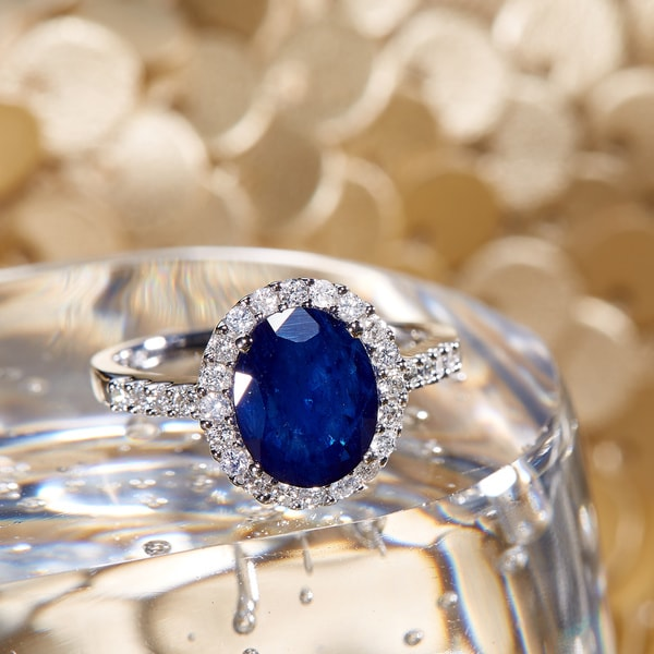 Miadora signature collection 14k white gold oval sapphire for Overstock free returns
