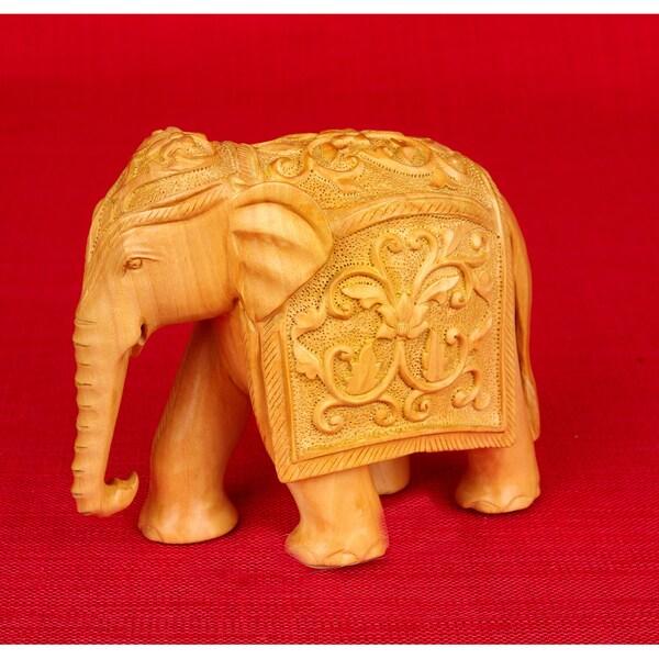 Kadam Wood Elephant Carving (India)